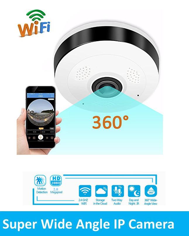 Wireless Wifi CCTV Camera 360 Panoramic Fisheye 3D